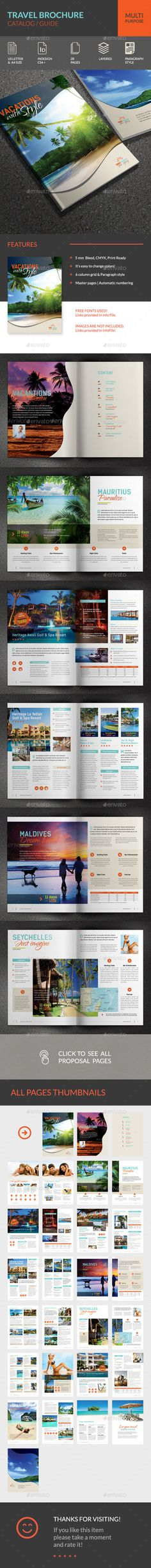 Travel Brochure Catalog Indesign Template V  Indesign Templates