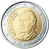 Spain's 1- and 2-euro coins depict the current monarch, King Juan Carlos I.