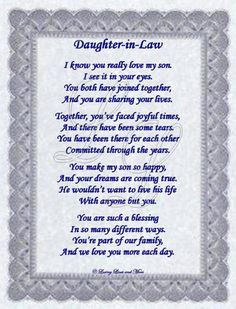 My Daughter In Law Poem | Daughter-in-Law Poem