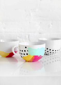 DIY: tissue paper watercolor mug