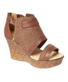 Loving this Brown Wide-Strap Linen Wedge Sandal - Women on #zulily! #zulilyfinds