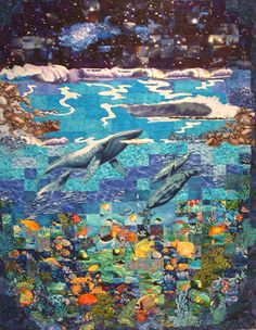 Waves and Whales Quilt Ocean Quilt, Fish Quilt, Quilting Projects, Quilting Designs, Wildlife Quilts, Watercolor Quilt, Ocean Home Decor, Animal Quilts, Bed Runner