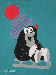 Maulwurf Applikation Stoff&Liebe Shirt Winter Edition Pauly mole applique