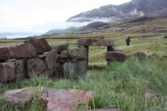 Norse ruins in Igaliku Fjord, Greenland.  Icelander Eric the Red settled in South Greenland around 1000 AD.  At its peak it is estimated that there were 2000 - 3000 Norse settlers in Greenland. In West Greenland around Nuuk and Southwest Greenland around Narsaq and Qaqortoq. They  provided Europe with walrus; They founded a settlement in the New World 500 years before Columbus. Norsemen populated Greenland until the beginning of 1400, when they disappeared without a trace.