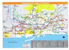Barcelona L9 Subway Map, Public Transport, Transportation, Barcelona, Underground Map, Barcelona Spain