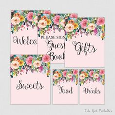 Floral Bridal Shower Table Signs - Printable Floral Bridal Shower Decorations - Welcome Signs - Pink Floral  0001P