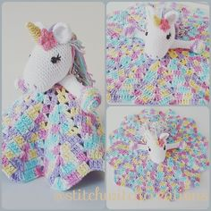 Lavender Unicorn Snuggle Blanket crochet pattern only not a finished product - PDF Crochet Pattern I Bunny Crochet, Crochet Lovey, Crochet Blanket Patterns, Baby Blanket Crochet, Crochet Teddy, Crochet Crafts, Crochet Projects, Crochet Toys, Drops Paris