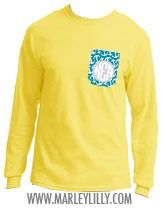 Monogrammed Printed Pocket Long Sleeve Crew T-Shirt