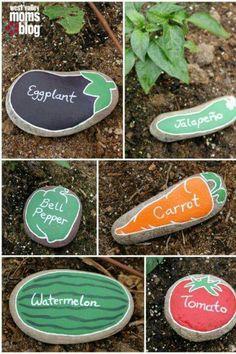 Stones to mark plants in your garden