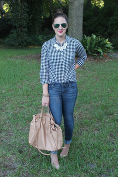 Buffalo check shirt and denim via With Style and a Little Grace