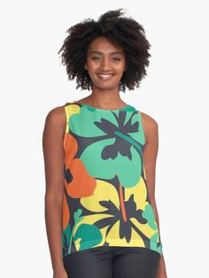 """""""Flower Print, Flower Pattern"""" Sleeveless Top by MsD7 