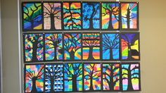 Fleurige bomen in de herfst. In groep 7/8. Fall Art Projects, Autumn Art, Art Plastique, Cube, Teaching Resources, School, Flowers, Psicologia, Stained Glass