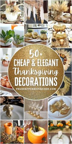 Give your home a classy look for Thanksgiving on a budget with these cheap and elegant DIY Thanksgiving decorations. From mantel Thanksgiving decor to DIY Thanksgiving centerpieces, there are plenty of Thanksgiving decor ideas that won't break the bank. There are indoor and outdoor Thanksgiving decorations for the home to choose from. Diy Thanksgiving Centerpieces, Outdoor Thanksgiving, Pumpkin Centerpieces, Thanksgiving Tablescapes, Thanksgiving Ideas, Holiday Ideas, Diy Centerpieces, Holiday Recipes, Pumpkin Vase