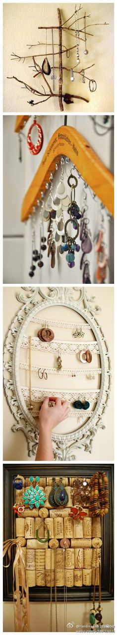 Fun jewelry holders, love the old hanger!