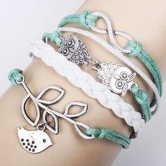 Cute Lucky Olive Branch Owl  Infinity Bracelet by ByGoodss on Etsy, $9.90  Web designer on Etsy https://www.etsy.com/listing/173339976/blog-design-on-etsy-web-design-blog?ref=pr_shop
