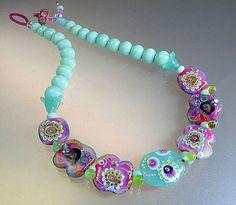 Colorful Necklace handmade lampwork glass beads door manuelawutschke