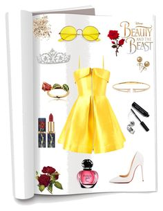 """""""Beauty And The Beast💛🌹"""" by hayatbabay ❤ liked on Polyvore featuring Disney, Alex Perry, Christian Louboutin, Ray-Ban, Nadri, Bling Jewelry, Bobbi Brown Cosmetics and Topshop"""