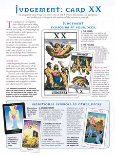 The origins of the Tarot are surrounded with myth and lore. The Tarot has been thought to come from places like India, Egypt, China and Morocco. Others say the Tarot was brought to us fr Judgement Tarot Card, Tarot Cards For Beginners, Tarot Card Spreads, Tarot Astrology, Tarot Major Arcana, Tarot Card Meanings, Tarot Readers, Mind Body Spirit, Oracle Cards