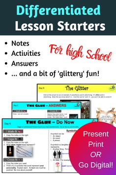 Worried about forgetting the essentials?  Wanting a little pizzazz for your lessons?  Glitter and Glue provides necessary skills plus points of worldly interest.  All in one resource - present on your big screen as a lesson starter, print off the hard copy task cards for relief/sub lesson or for early finishers, or share with students to complete digitally.  Whoop whoop!  Differentiated for 3 levels, 10 lessons in each set.  Students get notes, activities, answers.  Grab them all here! High School Activities, Learning Activities, Literacy Strategies, Interactive Student Notebooks, 6th Grade Ela, Teaching Themes, Middle School Reading, High School Students, Task Cards