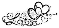 Valentijnsdag decoratie met letters en twee harten