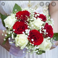 Carnation Bridal Bouquet, Prom Bouquet, Red Rose Bouquet, White Wedding Bouquets, Bride Bouquets, Red And White Weddings, White Roses Wedding, Red And White Roses, Red Roses