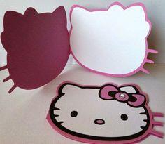 Invitacion Hello Kitty (libro)     Elaborada en cartulinas suaves, hecha completamente a mano. La parte interna es 100% editable con el tex...