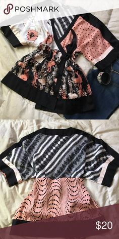 bebe silk Kimono top 100% silk! be sultry and sexy for any date night or casual event in this GORGEOUS multi-print kimono top! there's polka dots, lace print, and 2 florals in crying shades of pink, black, and white with a bit of cream and rose gold thrown in! bebe Tops Blouses
