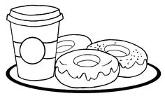 Coffee Cup Coloring Page Inspirational Outlined Coffee Cup with Donuts — Stock © Hittoon Cars Coloring Pages, Coloring Sheets, Coloring Books, Food Coloring, Coffee Cup Images, Winnie The Pooh Drawing, Donut Vector, Alphabet, Coloring Pages Inspirational