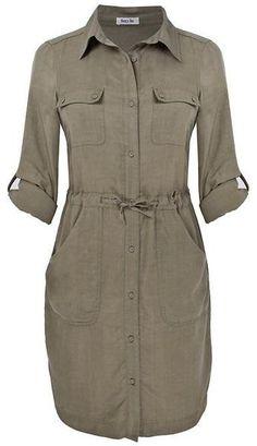 Clothing for Women : Lazy Lu Gray Tencel Shirt Dress.I like shirt dresses, okay? Linen Dresses, Cute Dresses, Casual Dresses, Casual Outfits, Khaki Shirt Dress, Shirt Dress Diy, Hijab Fashion, Fashion Dresses, Safari Dress
