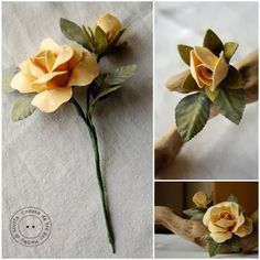 Yellow roses:  This is made of clay but you could use this ideas with gum paste as well