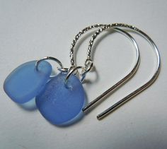 Sea glass and sterling silver loop