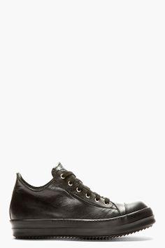 RICK OWENS Black Cap Toe Low-Rise Sneakers