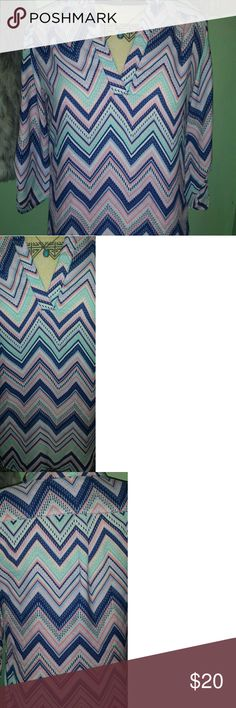Colorful blouse Multi-colored chevron pattern blouse. Nice for the office or Sunday brunch :) No snags, pulls or holes. Wishful Park Tops Blouses