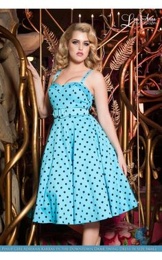 Deadly Dames- Downtown Dame Swing Dress in Baby Blue and Black Polka Dots | Pinup Girl Clothing