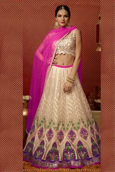 Net Semi Stitched A-Line Lehenga Choli In Off White and Pink Colour