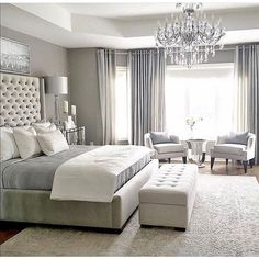 One of the reasons why you need some new master bedroom ideas is because that you might feel bored with your old bedroom design. It's understandable because the bedroom is the room where you may spend… Master Bedroom Design, Home Decor Bedroom, Modern Bedroom, Trendy Bedroom, Bedroom Furniture, Girls Bedroom, Luxury Master Bedroom, Bedroom Curtains, Master Bedroom Chandelier