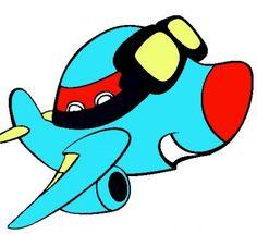 dibujos de aviones infantiles celeste
