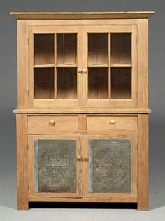 Yellow pine step cupboard w/punch tin door panels