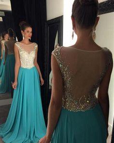 2016 long elegant turquoise prom dresses, sexy backless