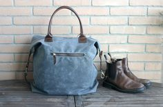Waxed canvas duffle bag - handmade waxed canvas travellers bag - weekender bag - waxed canvas bag - canvas and leather bag - mens