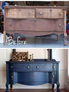 Before and after chalk painted dresser