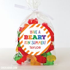 """""""Have a Beary Fun Summer"""" Last Day of School Stickers. Pair them with our treat bags to make easy and adorable last day gifts!"""