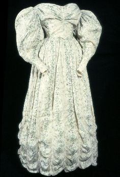 "1830-1832 -- A very ""Cosette-ly"" dress, I think.  It's the height of fashion, with huge full sleeves and what's probably some very detailed and expensive stitching, yet it's innocent, modest, and not overly gaudy."