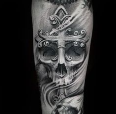 Skull With Ornate Cross Badass Male Inner Forearm Tattoo Sleeve