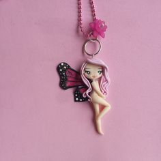 Butterfly necklace sign scorpio in fimo polymer clay by Artmary2
