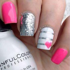 classic pink white silver glitter nail design by jewsie_nails #fav