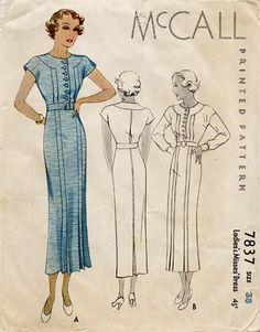 McCall 7837 | ca. 1934 Ladies' & Misses' Dress