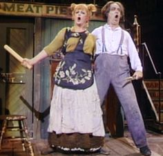 Angela Lansbury is Mrs. Lovett, and Len Cariou is Sweeney Todd on Broadway