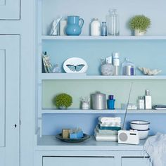Blue painted kitchen shelves | Decorating with pastel colours. For more decorating ideas visit Redonline.co.uk
