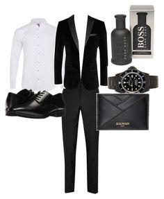 """New year look"" by chhrtriri ❤ liked on Polyvore featuring Topman, Labinjoh London, Stacy Adams, BOSS Black, Balmain, BOSS Hugo Boss, men's fashion and menswear"